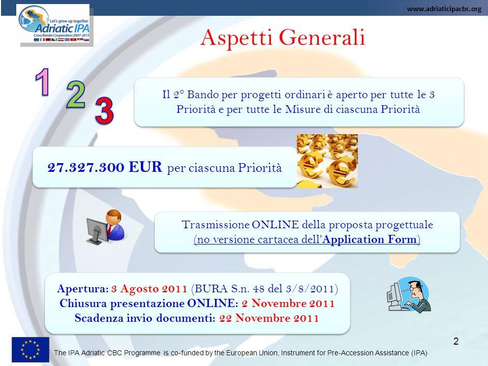 1 2 3 Aspetti Generali 27.327.300 EUR per ciascuna Priorità