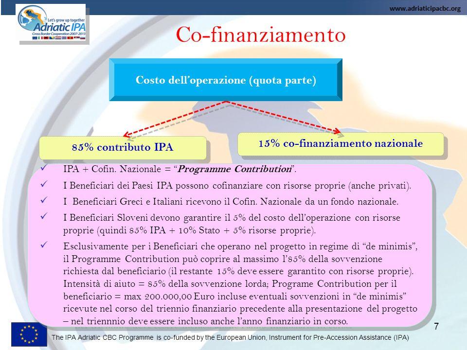 Costo dell'operazione (quota parte) 15% co-finanziamento nazionale