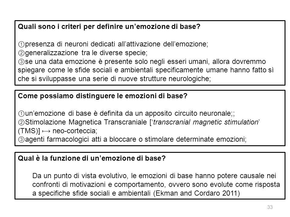 Quali sono i criteri per definire un'emozione di base
