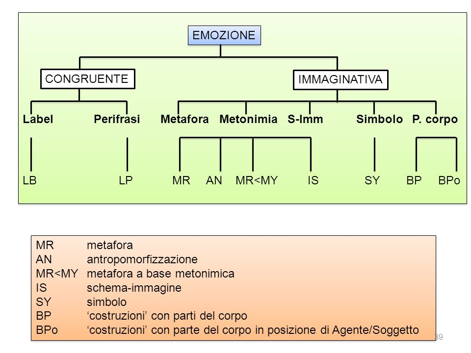 EMOZIONE CONGRUENTE. IMMAGINATIVA. Label. Perifrasi Metafora Metonimia S-Imm Simbolo P. corpo.