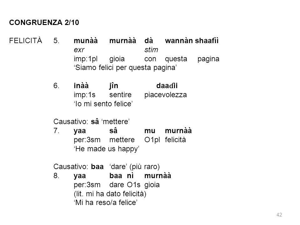 CONGRUENZA 2/10 FELICITÀ 5. munàà murnàà dà wannàn shaafìì. exr stim. imp:1pl gioia con questa pagina.