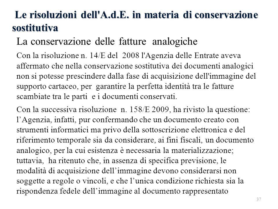 Le risoluzioni dell A.d.E. in materia di conservazione sostitutiva