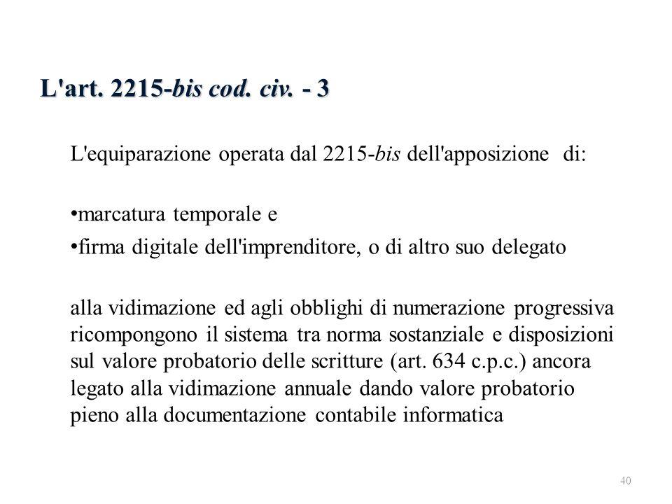 6.2.4 L art. 2215-bis - 3 L art. 2215-bis cod. civ. - 3