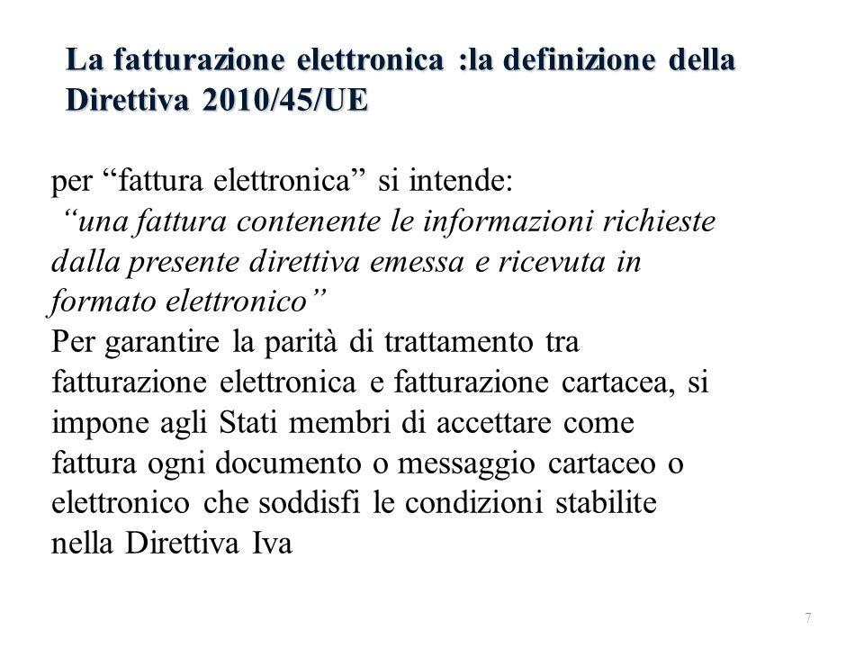 La fatturazione elettronica :la definizione della Direttiva 2010/45/UE