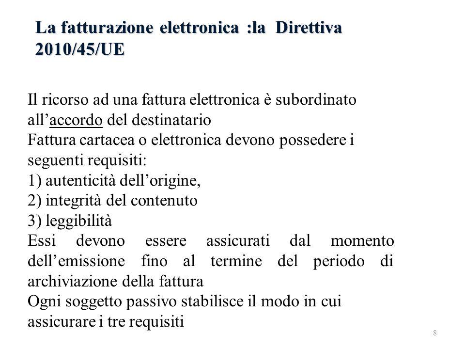 La fatturazione elettronica :la Direttiva 2010/45/UE