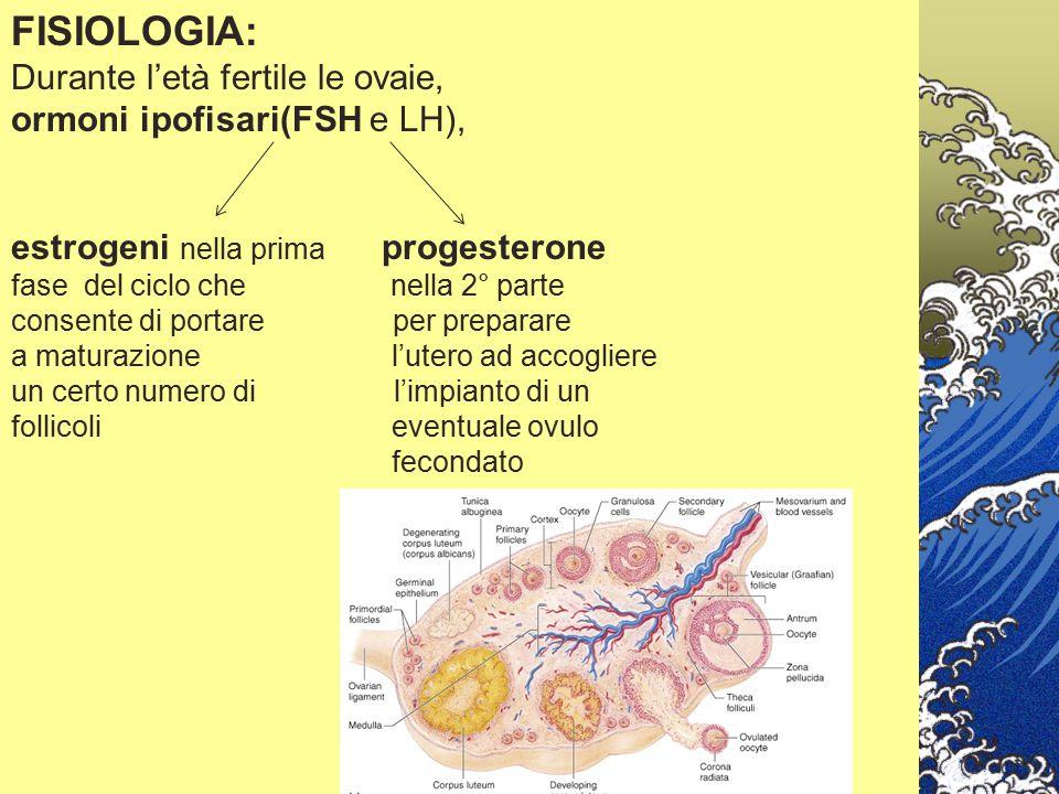 FISIOLOGIA: Durante l'età fertile le ovaie,