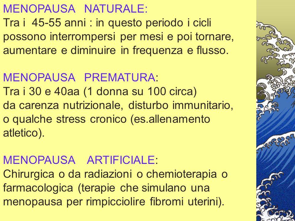 MENOPAUSA NATURALE: Tra i 45-55 anni : in questo periodo i cicli. possono interrompersi per mesi e poi tornare,