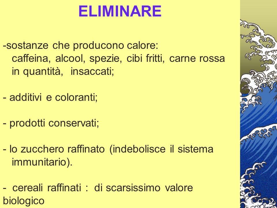 ELIMINARE -sostanze che producono calore: