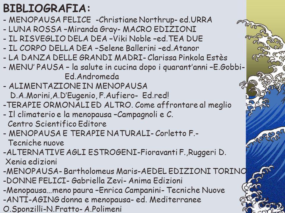 BIBLIOGRAFIA: - MENOPAUSA FELICE -Christiane Northrup- ed.URRA