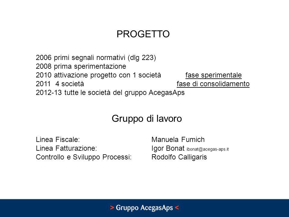 PROGETTO Gruppo di lavoro 2006 primi segnali normativi (dlg 223)