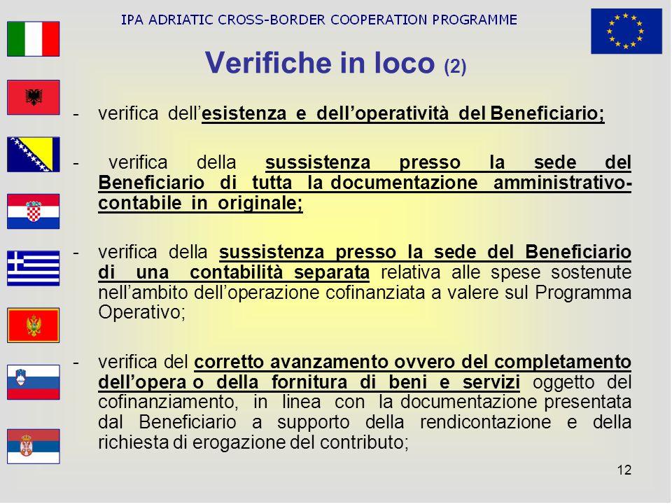 Verifiche in loco (2) verifica dell'esistenza e dell'operatività del Beneficiario;