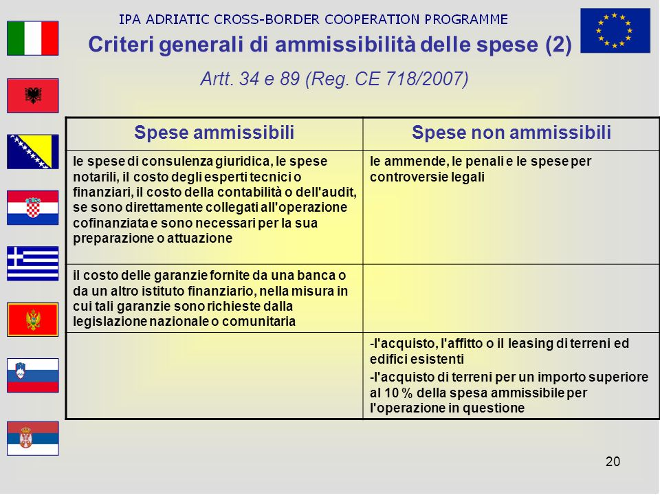 Criteri generali di ammissibilità delle spese (2) Artt. 34 e 89 (Reg