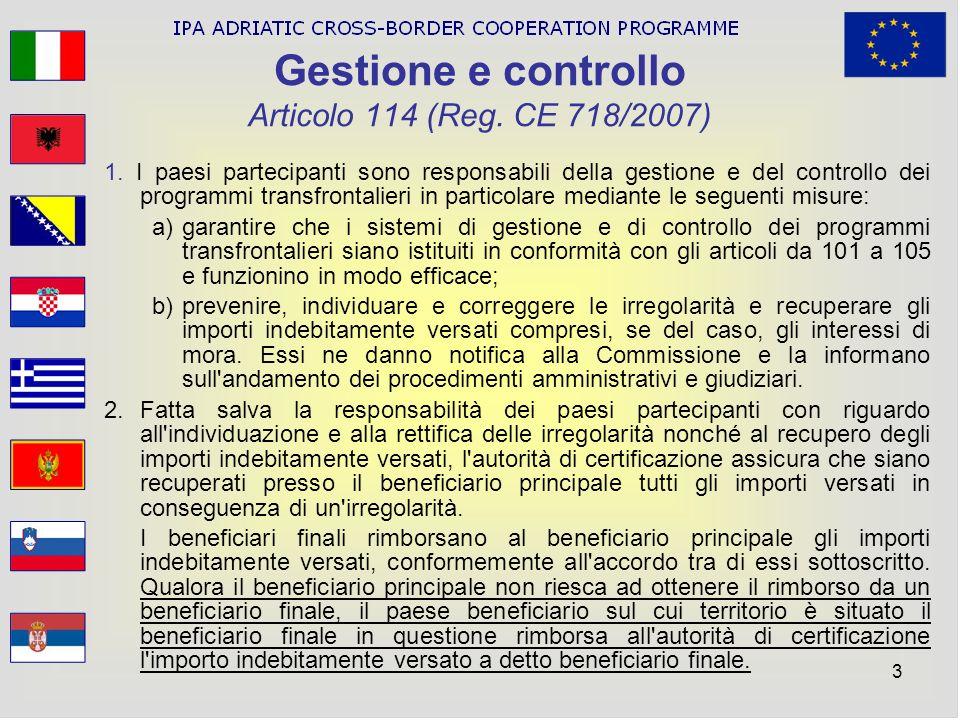 Gestione e controllo Articolo 114 (Reg. CE 718/2007)