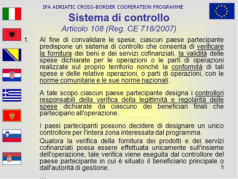 Sistema di controllo Articolo 108 (Reg. CE 718/2007)