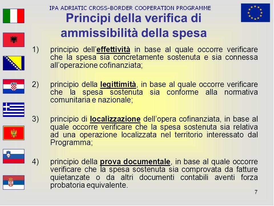 Principi della verifica di ammissibilità della spesa