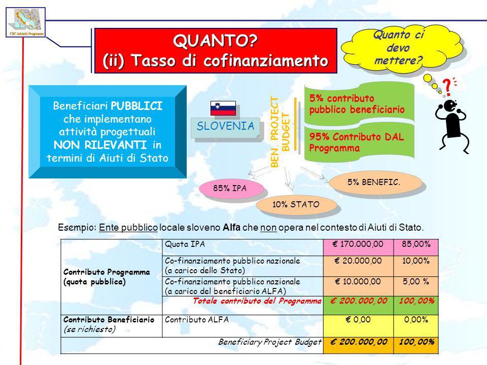 (ii) Tasso di cofinanziamento
