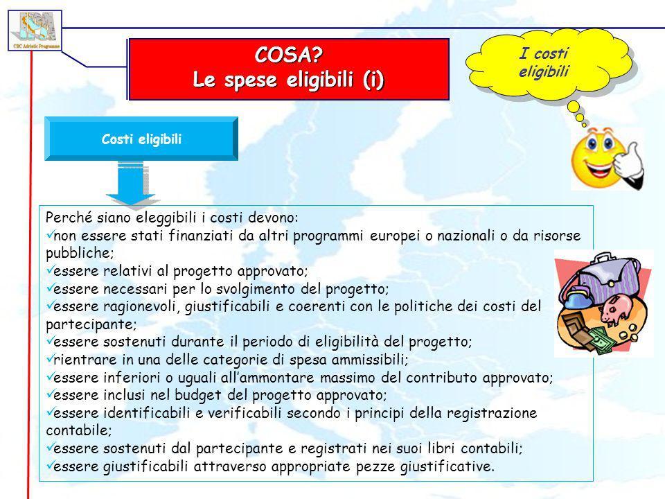 COSA Le spese eligibili (i)