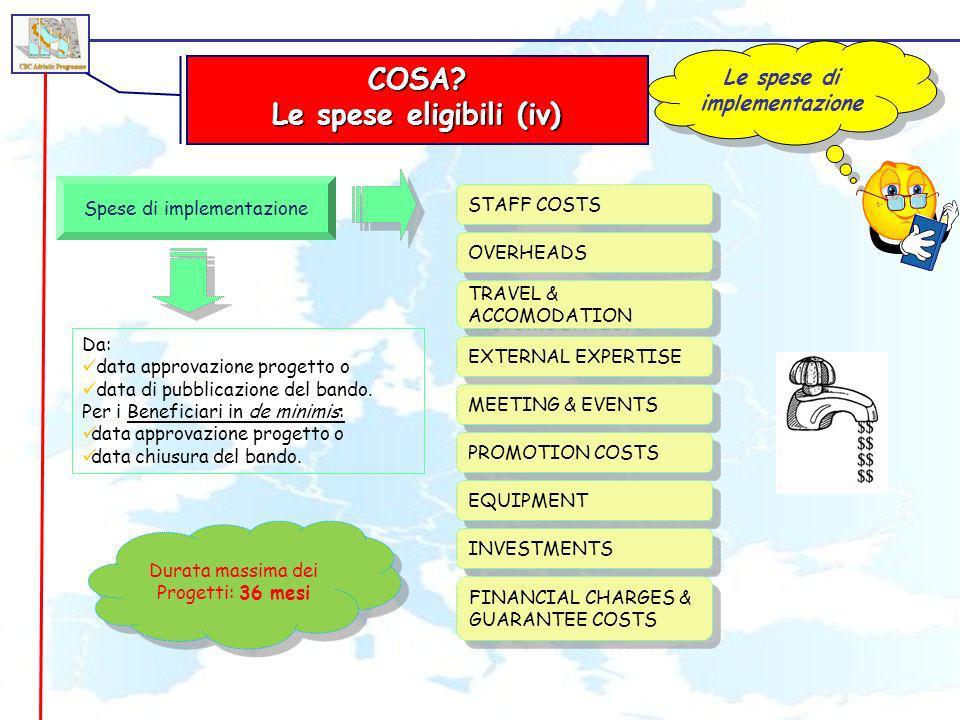 Le spese di implementazione Le spese eligibili (iv)