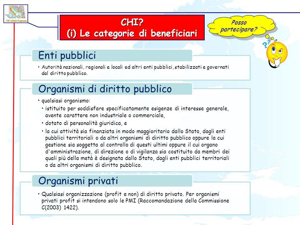 (i) Le categorie di beneficiari