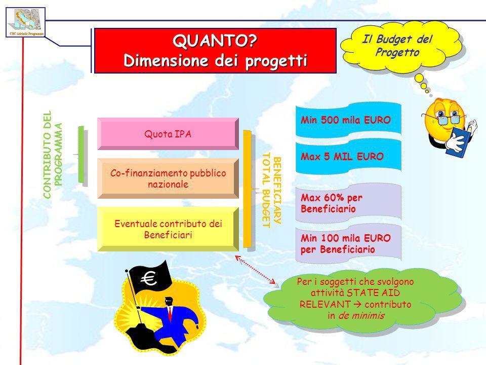 Dimensione dei progetti CONTRIBUTO DEL PROGRAMMA