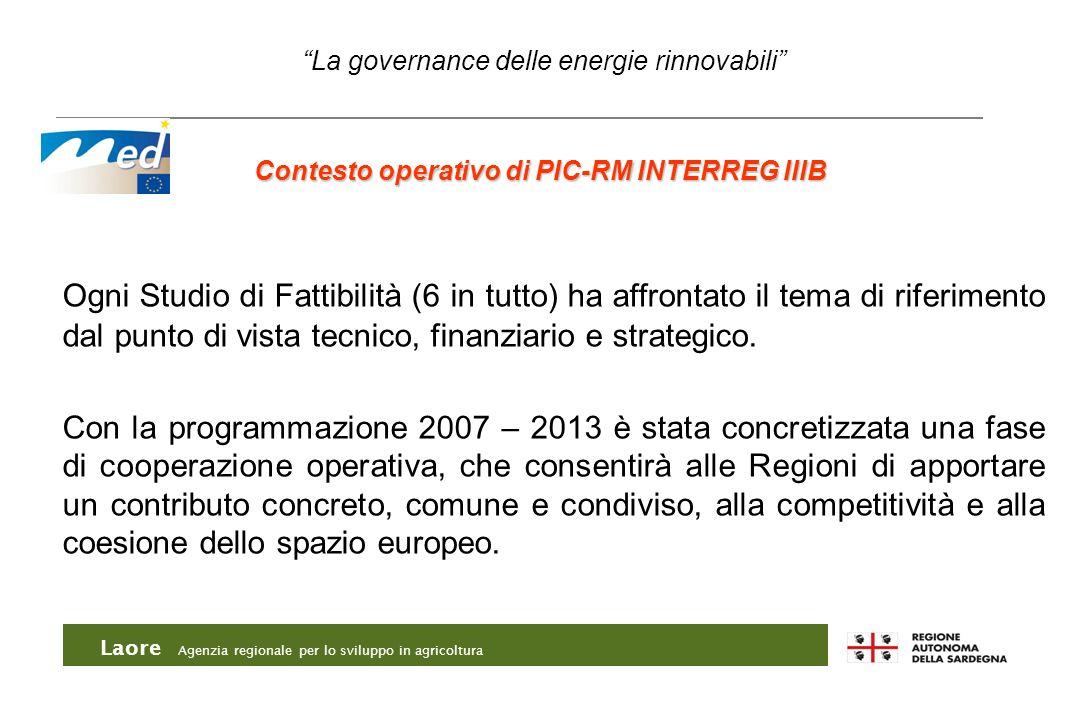 Contesto operativo di PIC-RM INTERREG IIIB