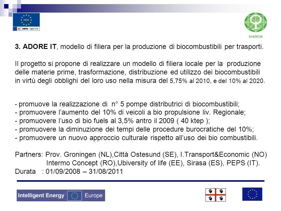 3. ADORE IT, modello di filiera per la produzione di biocombustibili per trasporti.