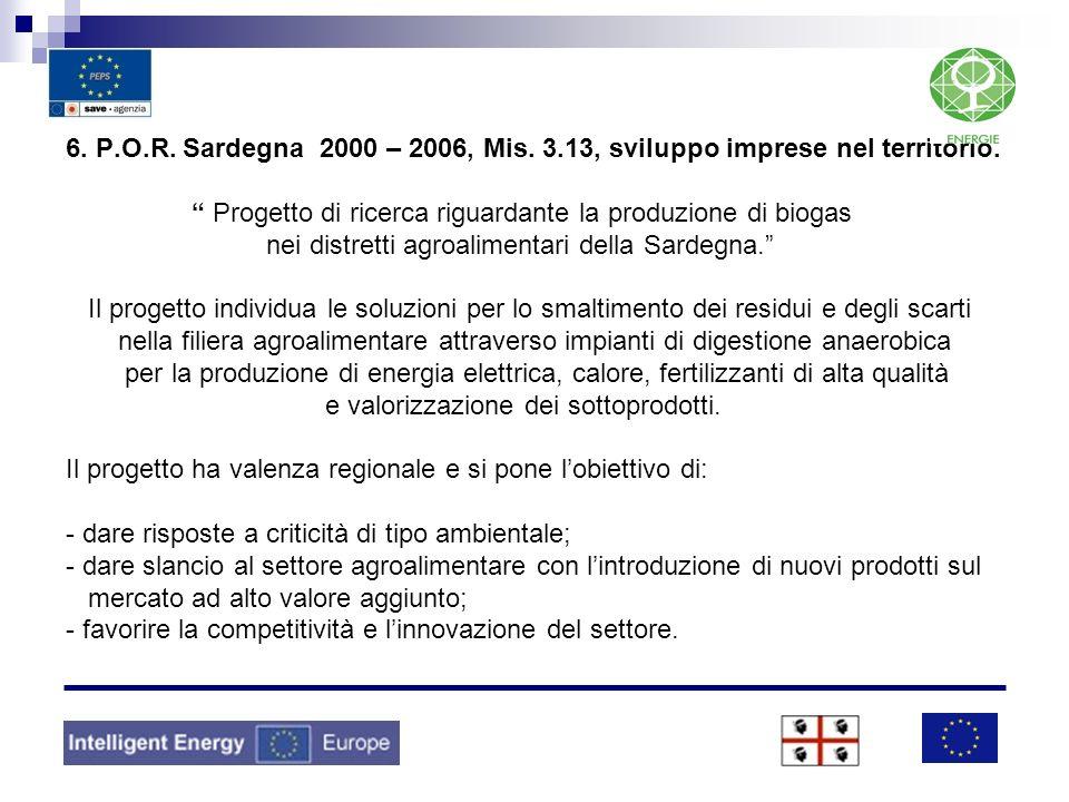 6. P.O.R. Sardegna 2000 – 2006, Mis. 3.13, sviluppo imprese nel territorio.