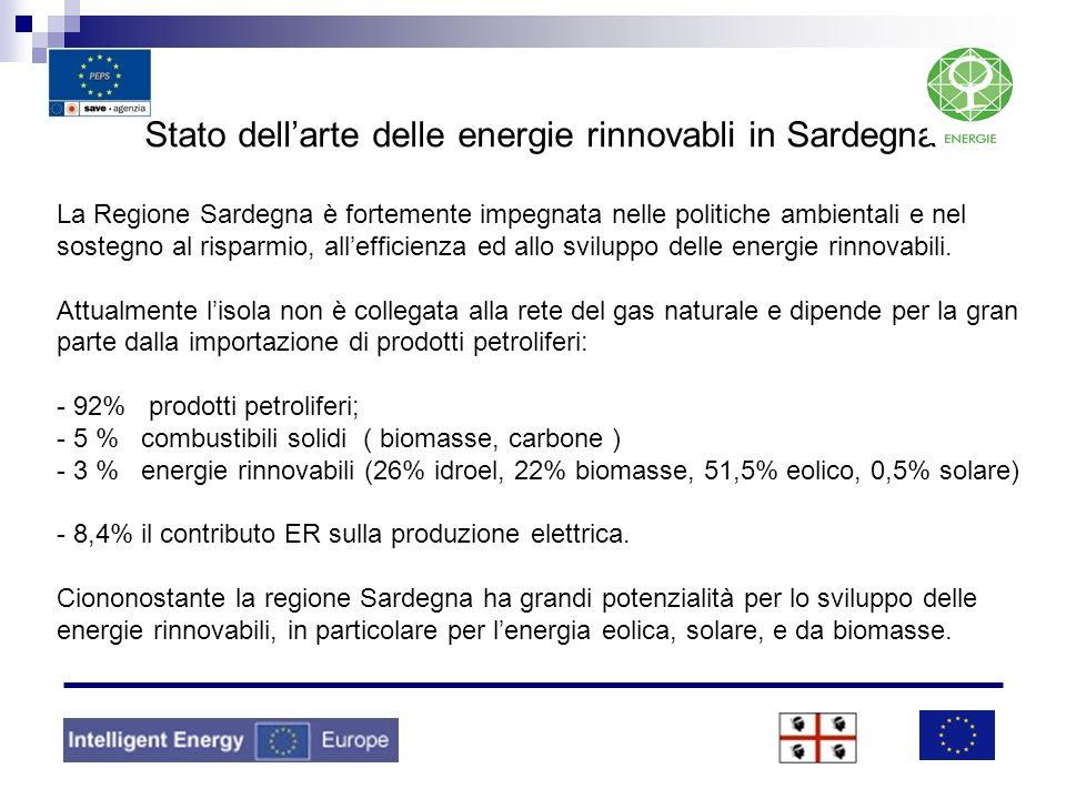 Stato dell'arte delle energie rinnovabli in Sardegna La Regione Sardegna è fortemente impegnata nelle politiche ambientali e nel sostegno al risparmio, all'efficienza ed allo sviluppo delle energie rinnovabili.