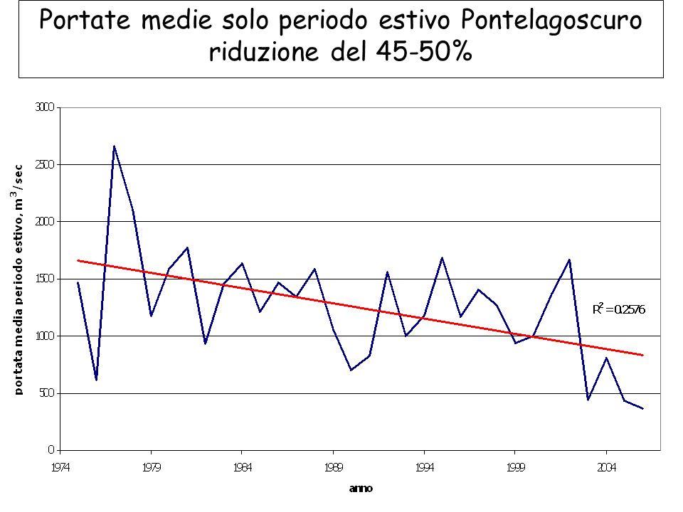 Portate medie solo periodo estivo Pontelagoscuro riduzione del 45-50%