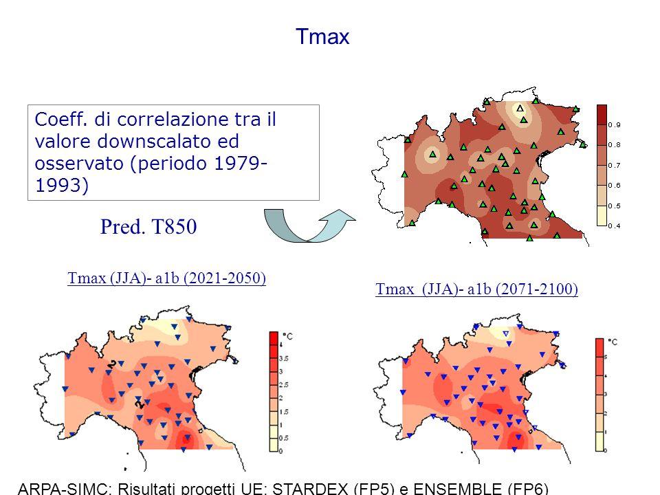 Tmax Coeff. di correlazione tra il valore downscalato ed osservato (periodo 1979-1993) Pred. T850.