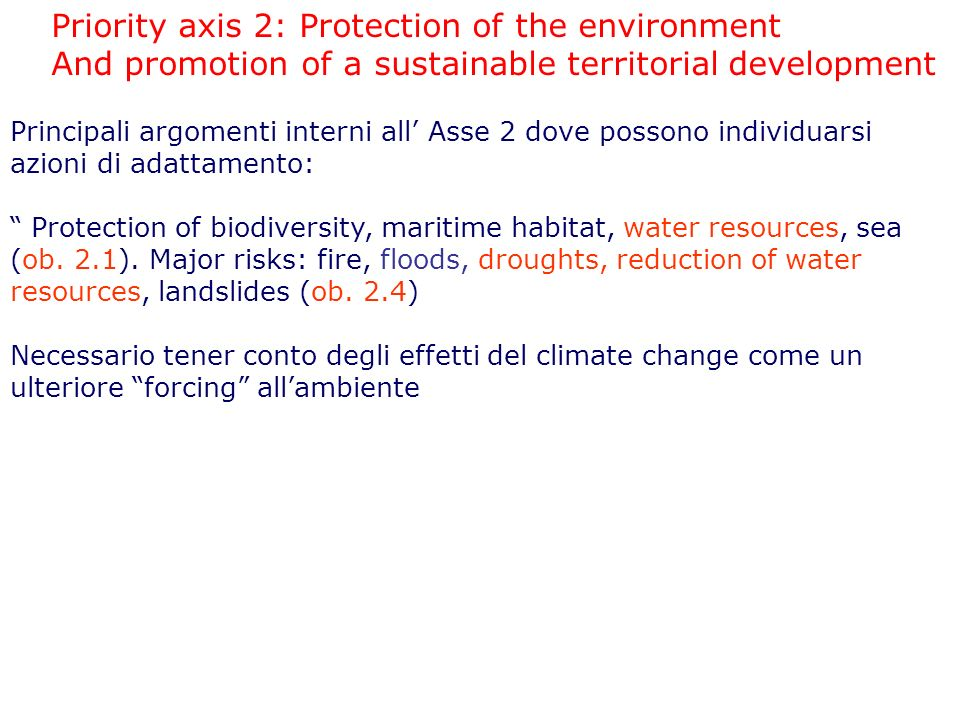 Priority axis 2: Protection of the environment