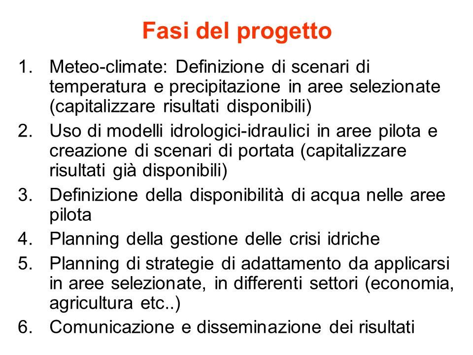 Fasi del progetto Meteo-climate: Definizione di scenari di temperatura e precipitazione in aree selezionate (capitalizzare risultati disponibili)
