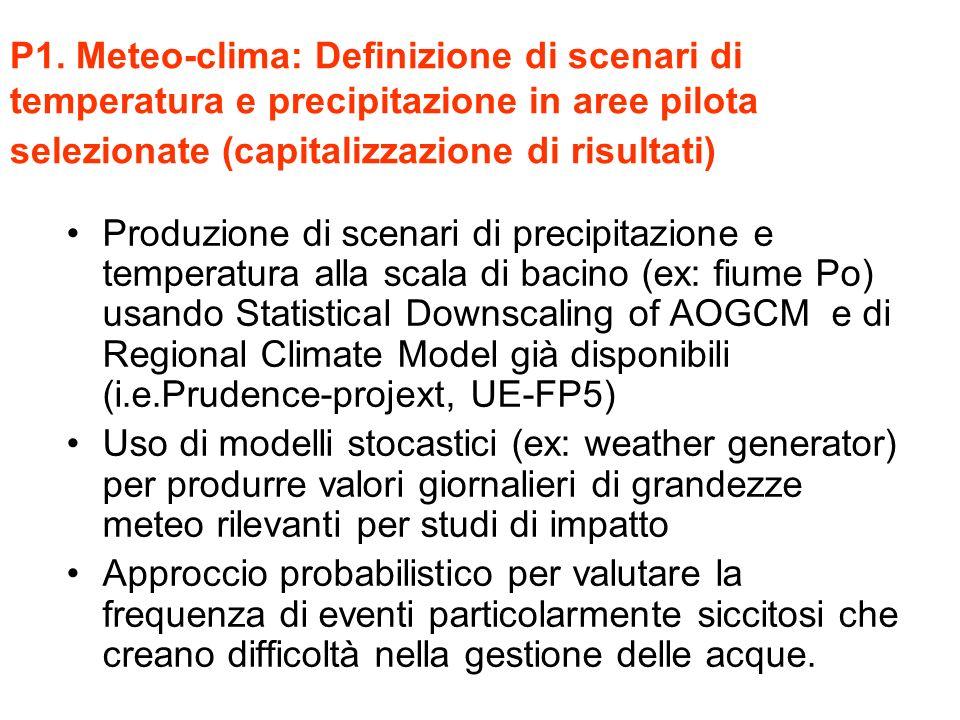P1. Meteo-clima: Definizione di scenari di temperatura e precipitazione in aree pilota selezionate (capitalizzazione di risultati)