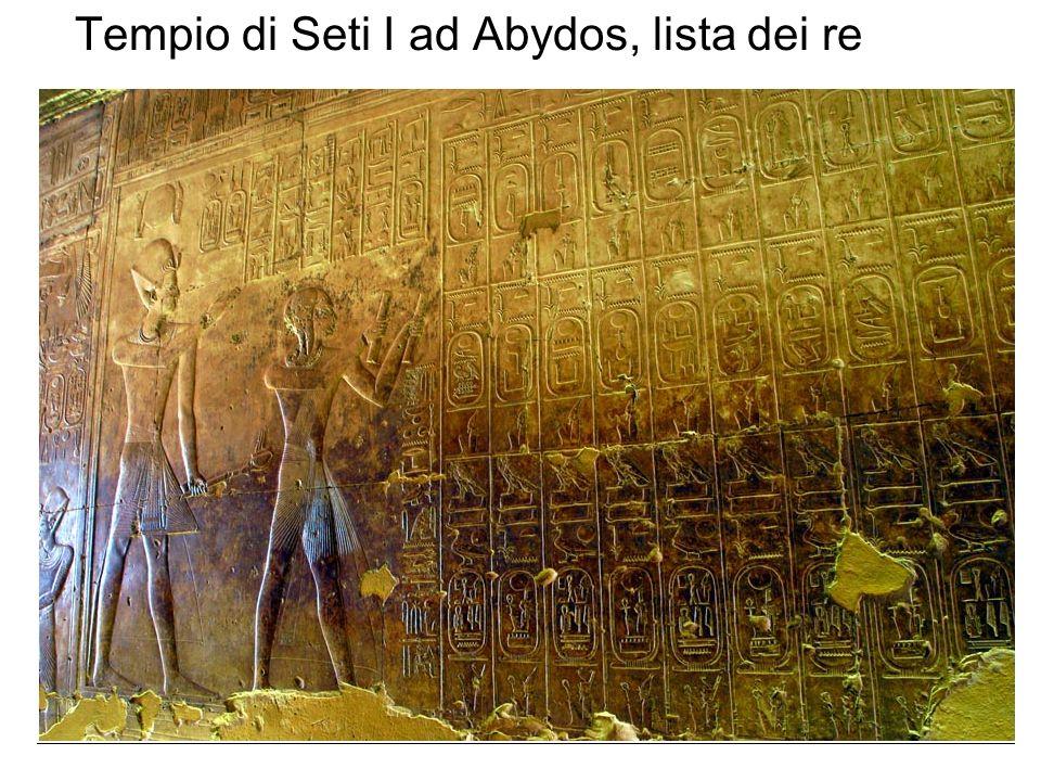 Tempio di Seti I ad Abydos, lista dei re