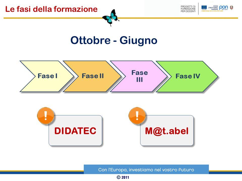 Ottobre - Giugno DIDATEC M@t.abel Le fasi della formazione Fase I