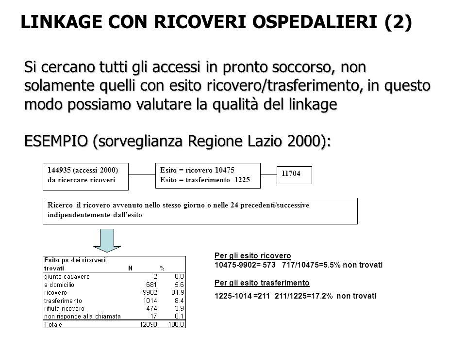 LINKAGE CON RICOVERI OSPEDALIERI (2)