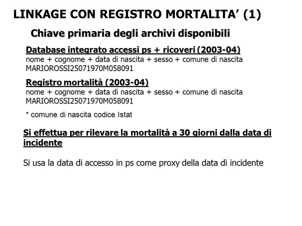 LINKAGE CON REGISTRO MORTALITA' (1)