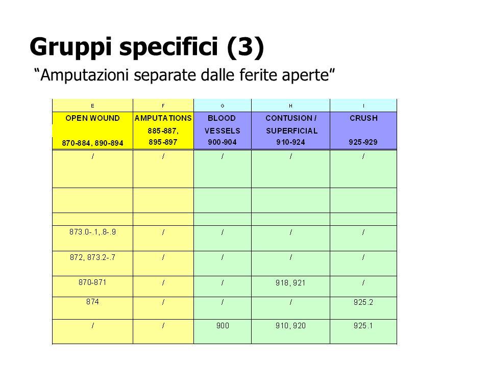 Gruppi specifici (3) Amputazioni separate dalle ferite aperte