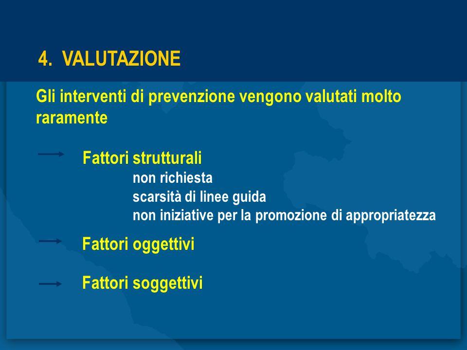 4. VALUTAZIONE Gli interventi di prevenzione vengono valutati molto raramente. Fattori strutturali.