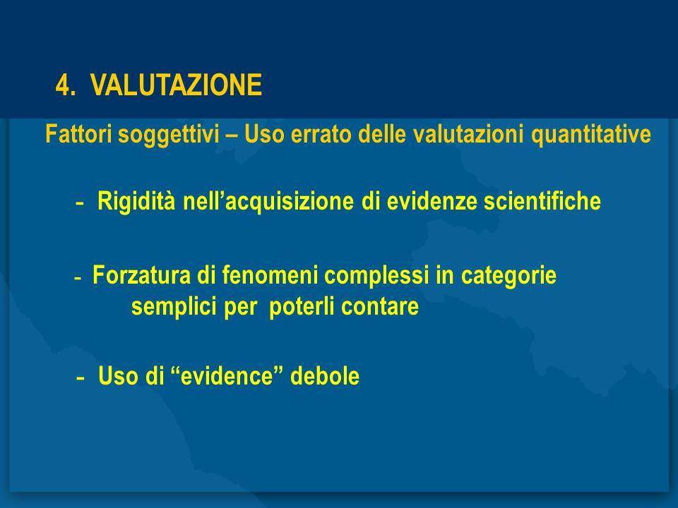 4. VALUTAZIONE - Rigidità nell'acquisizione di evidenze scientifiche
