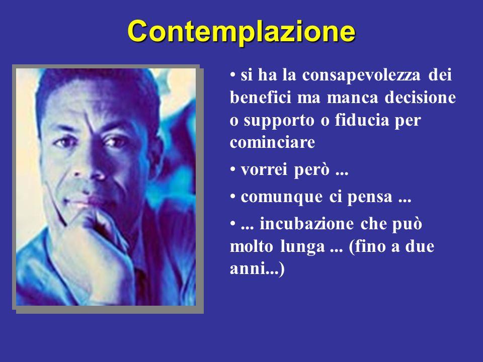 Contemplazione si ha la consapevolezza dei benefici ma manca decisione o supporto o fiducia per cominciare.