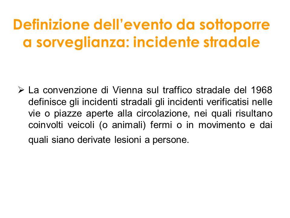 Definizione dell'evento da sottoporre a sorveglianza: incidente stradale