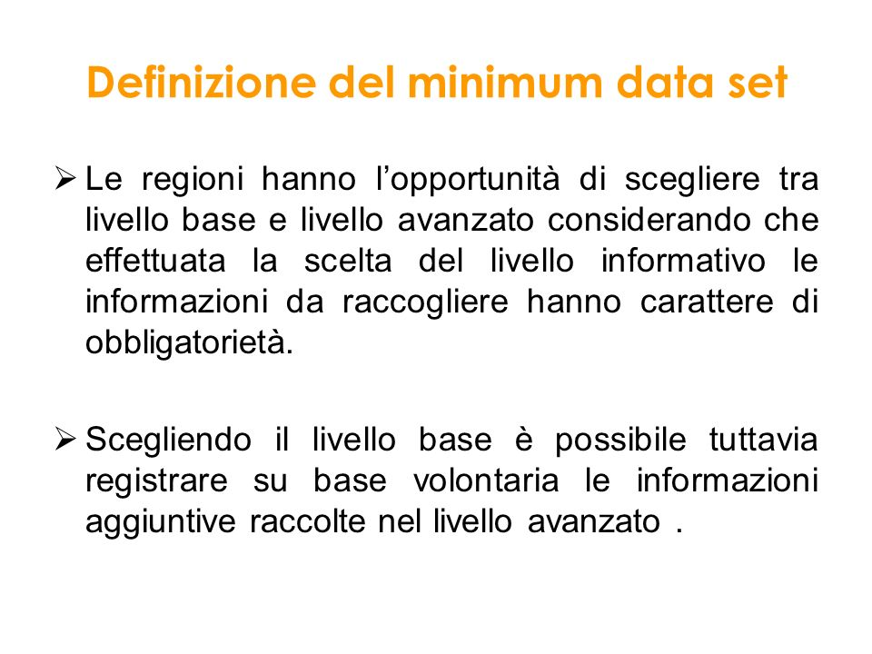 Definizione del minimum data set