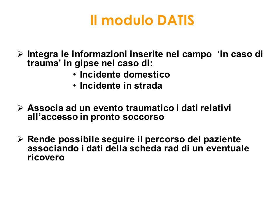 Il modulo DATIS Integra le informazioni inserite nel campo 'in caso di trauma' in gipse nel caso di: