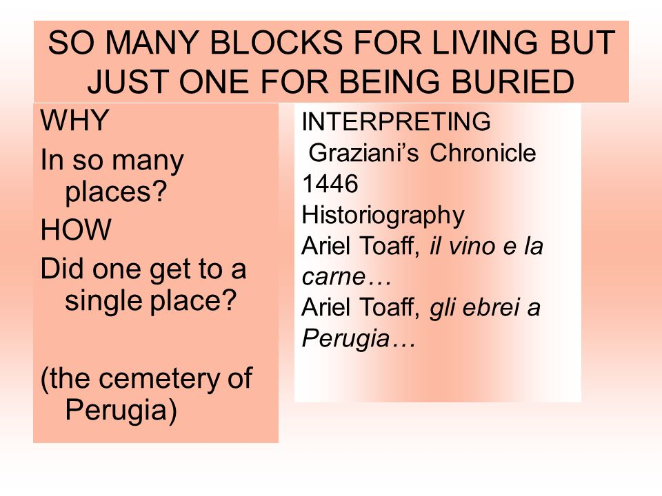 SO MANY BLOCKS FOR LIVING BUT JUST ONE FOR BEING BURIED
