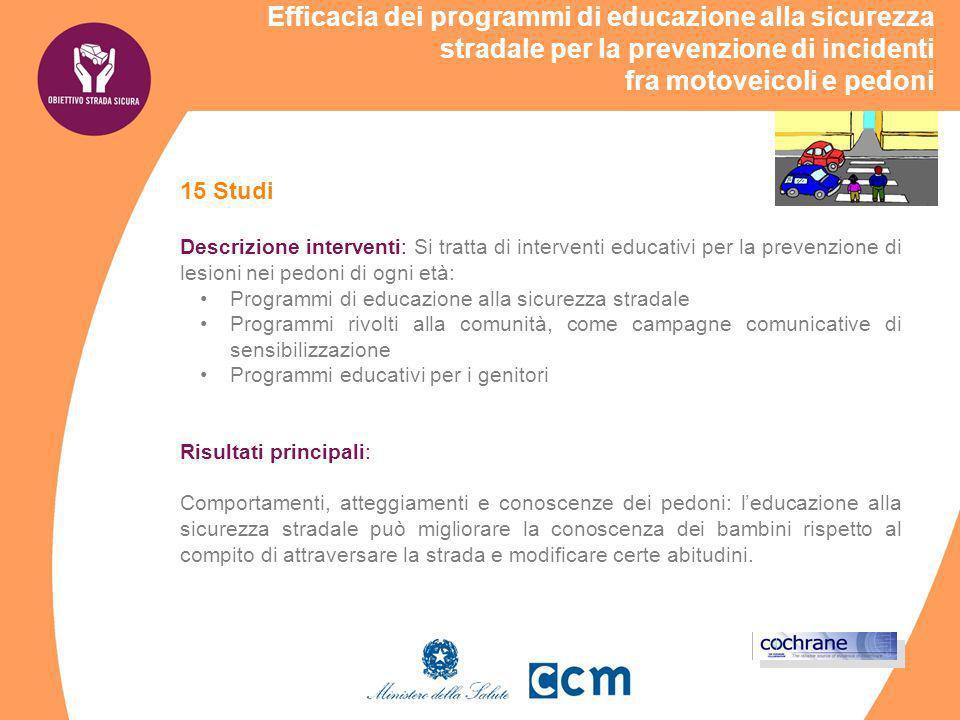 Efficacia dei programmi di educazione alla sicurezza stradale per la prevenzione di incidenti fra motoveicoli e pedoni