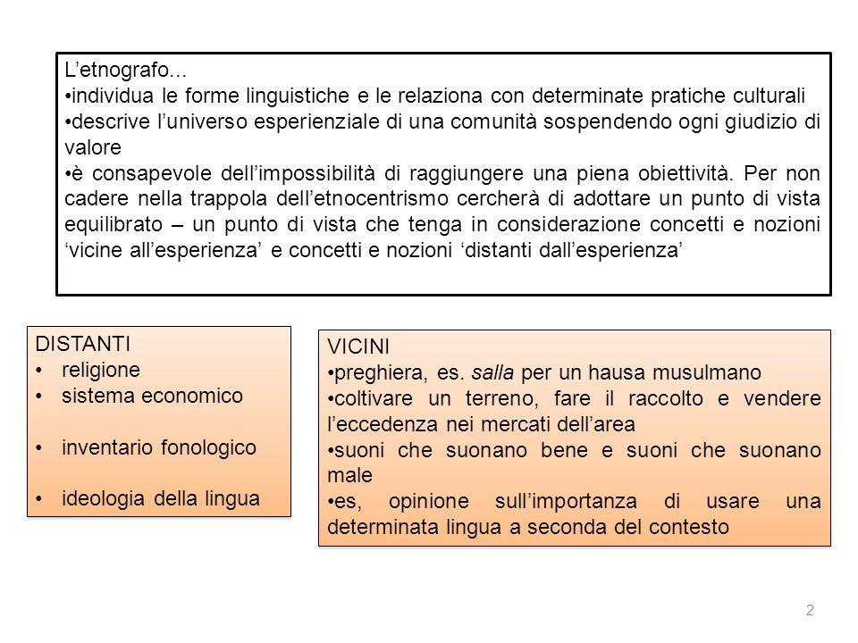 L'etnografo... individua le forme linguistiche e le relaziona con determinate pratiche culturali.