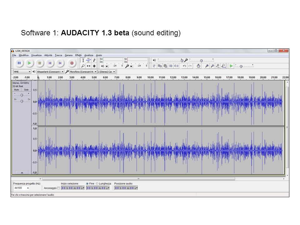 Software 1: AUDACITY 1.3 beta (sound editing)