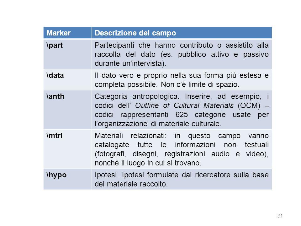 Marker Descrizione del campo. \part.