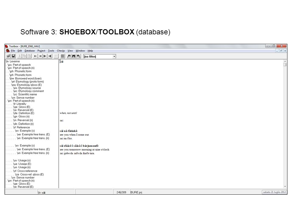 Software 3: SHOEBOX/TOOLBOX (database)